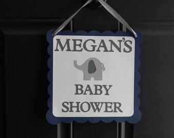 Elephant Door Sign, Elephant Welcome Sign, Elephant Baby Shower, Elephant Party, Navy