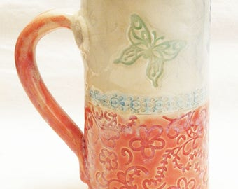 Butterfly ceramic stoneware coffee mug 20oz  stoneware 20D048