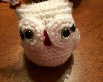 Crocheted Owl - Penny (White and Red)