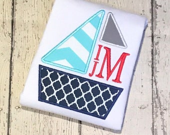 Boy's Sailboat Shirt - Summer Shirt - Boat design - Personalized Shirt - Monogram Summer shirt