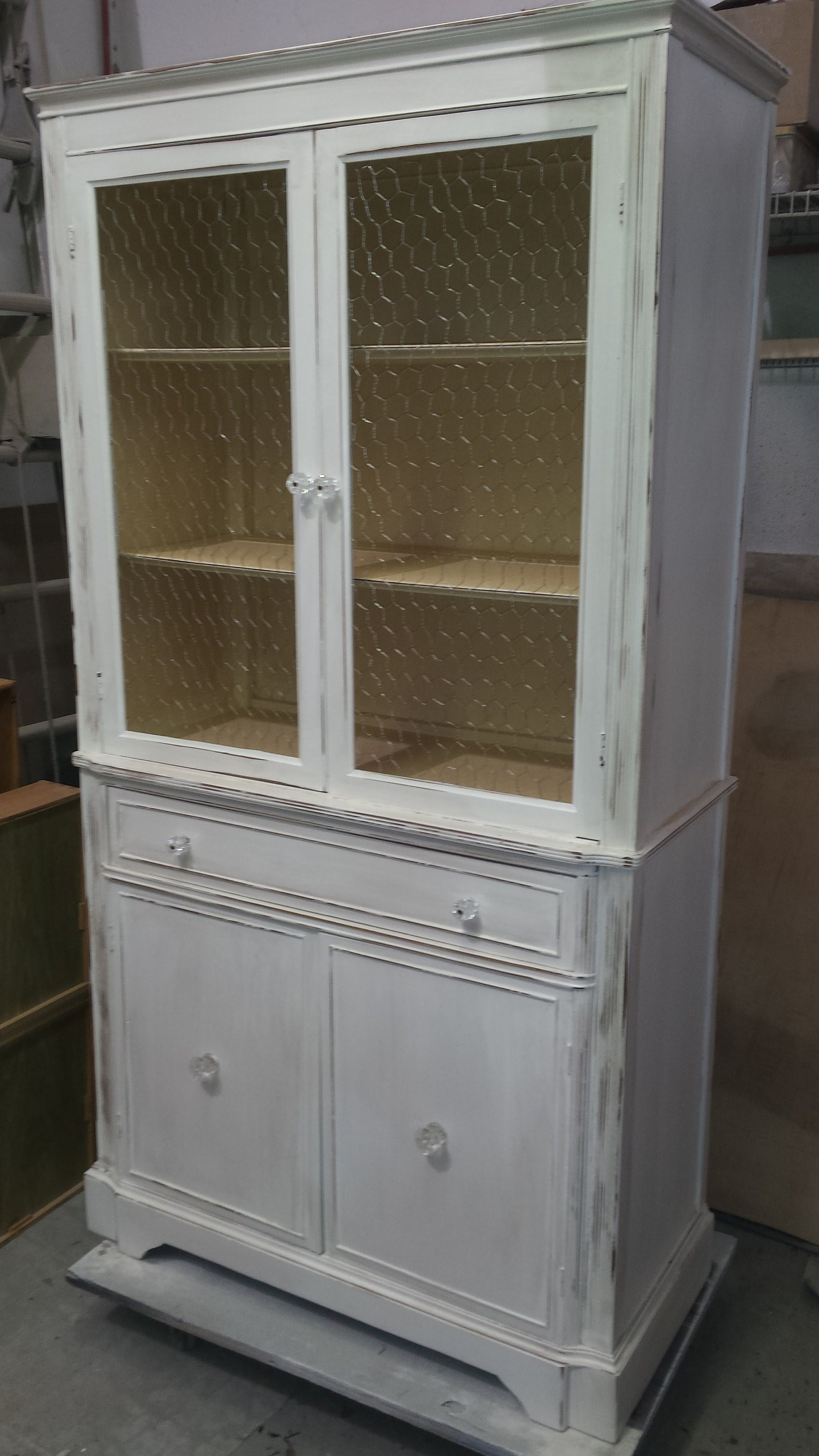 vintage painted china cabinet, pantry, hutch, breakfront, storage, shabby chic, rustic, farmhouse, country cottage, new york, new jersey, NJ, NY