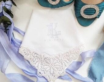 Something Blue Lace Edged Monogram Printed Handkerchief.  Printed Handkerchief.  Bride Hanky. Wedding Handkerchief