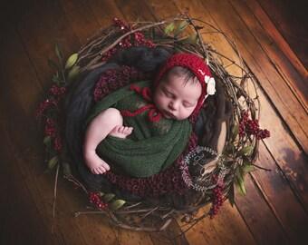 Stretch wrap - 'EVERGREEN' newborn stretch wrap  / scarf - prop blanket - knitbysarah - Stitches by Sarah