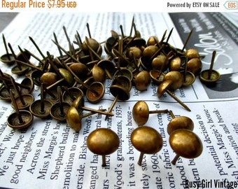 """Spring SALE 20% Off 50 Upholstery Tacks Nails with French Natural Antique Brass Finish- 5/8"""" shank...New Supplies"""