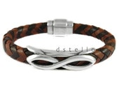 Anniversary gift, braided leather bracelet, leather jewelry, infinity men's braided bracelet, bicolor, mens gift, birthday