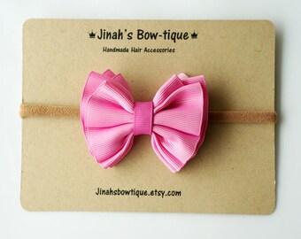 Gathered Hair Bow -Rose Pink- Hair Clip or Nylon Headband