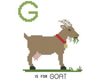 G is for Goat | Modern cross stitch PATTERN | Alphabet Animalia