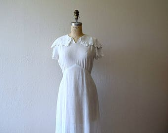 Vintage 1930s dress . 30s white linen dress
