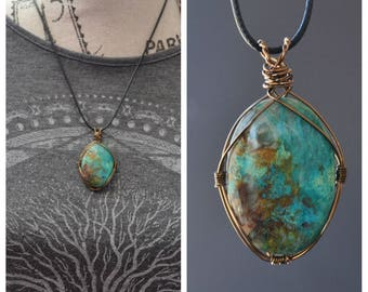 Large Chrysocolla Necklace, Oval Chrysocolla Cabachon, Wire Work Necklace, Wire Wrapped Pendant, Spring Jewelry, Mothers Day Gift, Geology