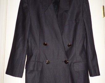 Vintage Linda Allard Ellen Tracy Blazer Jacket Small 34 Black Double Breasted Padded Shoulders Large  Silver Buttons