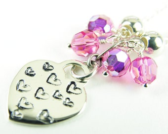 Heart Necklace Sterling Silver Delicate Chain Swarovski Crystal Pink Hand Stamped Valentine Day Jewelry Charm Pendant February 14th Birthday