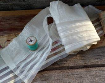 "Retro Ivory Net Lace + Satin Ribbon Dress Trim Yardage- Salvaged Vintage Sewing Trim, Craft Material, Wedding Dress Assemblage Lace, 160"""