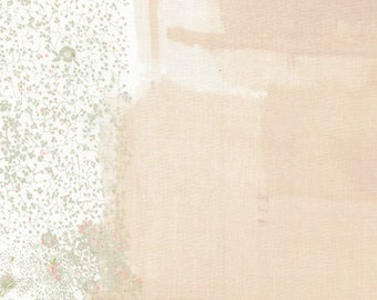 """Nani Iro Wild Flower in """"Little"""" peach on white, cotton double gauze fabric, by the yard"""