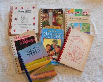 7 Vintage Cookbooks Burlington Iowa  Mayberry  Mt Pleasant Iowa Variety of Recipes  C