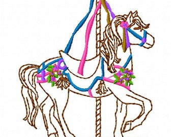 Carousel Horse Machine Embroidery Design - Instant Download