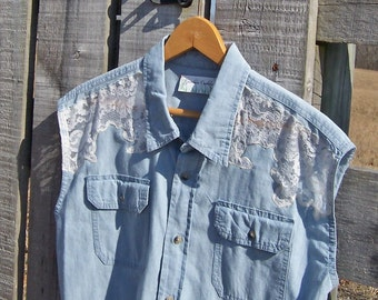 Upcycled Shirt with Lace Insert for Women, a Sleeveless Blue Chambray Cotton in Size L or XL, Prairie Farm Girl Chic for Spring or Summer