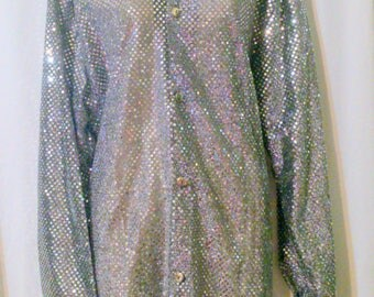 Vintage 1970s CHARADES Silver Metallic Blouse Size Large