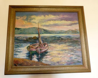Framed antique signed oil painting on canvas Mediterranean sea painting w boats 1900s oil on linen European art painting wooden gilded frame