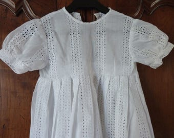 Antique French white hand made lace summer girl's broderie dress w openworked dots 1900s baptism dress christening gown, girls clothing