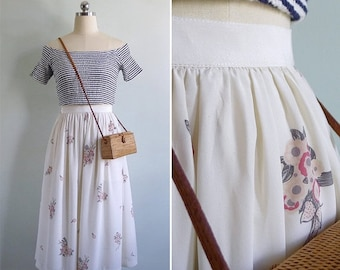 15% V-DAY WEEK Sale - Vintage 80's 'Blossoming Bouquets' Cream Floral Midi Skirt Xxs or Xs