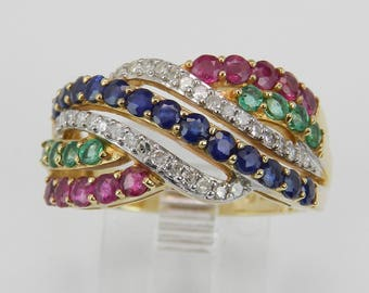 14K Yellow Gold Diamond Sapphire Ruby Emerald Multi Row Ring Crossover Band Size 7