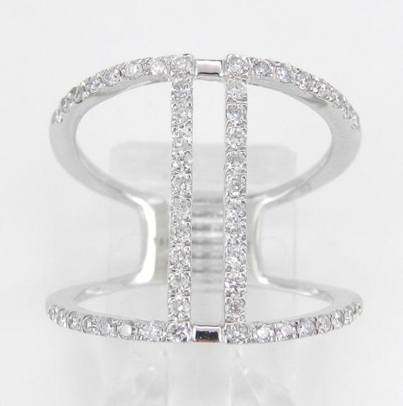 Modern Diamond Cocktail Ring White Gold Fashion Ring Size 6.5