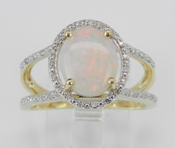 14K Yellow Gold Diamond and Opal Halo Promise Engagement Ring Size 7 October Gem