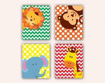Jungle Animal Nursery Print Set - Elephant Monkey Giraffe Lion Kids Bedroom Art, Chevron and Polka Dot Safari Decor in Bright Colors (5008)