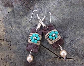 Hemp Turquoise earring dangle drop bohemian style earring leather earring brown leather flower sead bead earring hemp wrapped earring boho