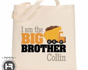 Dump Truck Big Brother Tote Bag / Dumptruck Tote Bag - Perfect for a Big Brother Kit