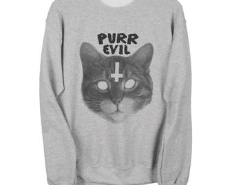 Satanic Cat Sweater - Purr Evil Unisex Sweatshirt