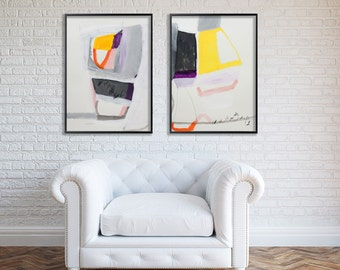 """Grey and Yellow Large ABSTRACT Painting on paper Geometric art modern painting """"Just Looking 01"""" by Duealberi"""
