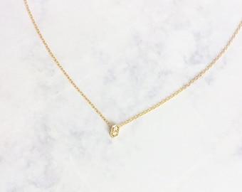 tiny gold CZ pavé hexagon choker necklace. dainty geometric jewelry
