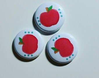 Pink Apple 1 inch pinback button set of 3