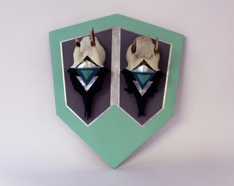 MINT GREEN & GREY twin pair diamond aztec geometric gem painted mount deer skull antlers horns - taxidermy unusual modern trophy decor head