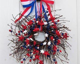 Mini Patriotic Wreaths - Window Wreath -  4th of July Wreath - Summer Decor - Americana Berry Wreath - Patriotic Home Decor - Ready To Ship