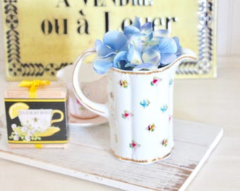 Vintage Pitcher Ceramic Cottage Chic Floral Pitcher with Multicolor Flowers