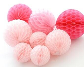 Pink party set - 8 mixed sizepaper HONEYCOMB BALLS -wedding party decorations - nursery decor