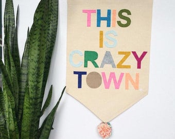This is Crazy Town Banner - Customizable Wall Banner  23 x 16in Wall Hanging Banner - Pennant Flag