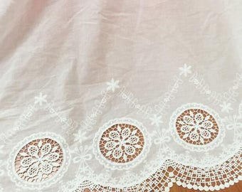 0.91x1.25 meter wide ivory  cotton fabric embroidered lace trim cloth clothes T4C1378P0509C free ship
