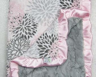 Minky blanket, baby girl blanket, baby gift, Floral blanket, PInk and grey, Custom minky blanket, Grey, Modern Bloom, Plush, blush minky
