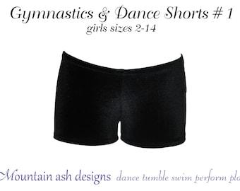 Gymnastics and dance shorts 1 pattern sewing pdf pattern ebook tutorial dance costume girls sizes 2-14