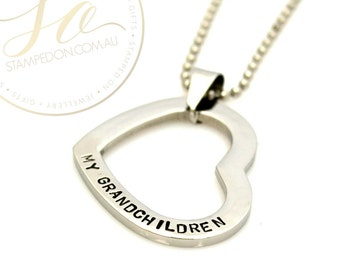 Custom Floating Heart Washer Personalised Hand Stamped Pendant & Chain - Stainless Steel Silver, Gold IP or Rose Gold IP