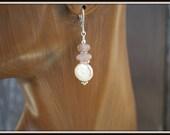 Sunstone Earrings, Sunstone and Pearl Earrings, Oregon Sunstone Earrings, Peach Pearl Earrings, Coin Pearl Earrings, Sunstone Dangles