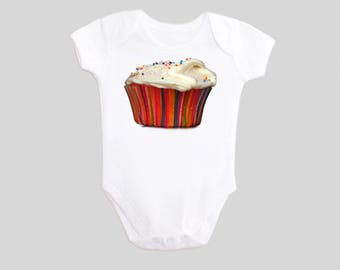 Cupcake t shirt food clothing Frosted Cupcake Baby Outfit Cupcake shirt Cupcake with Sprinkles food clothing