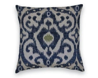 Blue Taupe Green Ikat Decorative Throw Pillow- 18x18 or 20x20 or 22x22 Pillow Cover- Accent Pillows