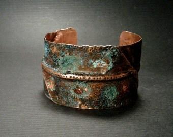 Rustic Gypsy glitter, blue patina bracelet, copper bangle, gypsy boho, Textured Cuff, fold form cuff, Copper Patina, copper cuff