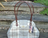 Tweed hand bag, shoulder bag with brown leather handles and Liberty print lining