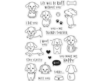 Hero Arts CM132 Clear Stamp WOOF matches DI365 Puppy, Critter, Paw, Hearts,  Bone,  Sweet Dog, Pup, Doggie, Friends Forever, Ruff