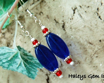 Red, White, And Blue Beaded Dangle Earrings